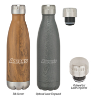 16 Oz. Swig Stainless Steel Woodtone Bottle
